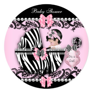 Baby Shower Cute Baby Girl Pink Zebra Lace ab Card