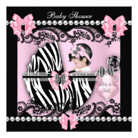 Baby Shower Cute Baby Girl Pink Zebra Lace Invites