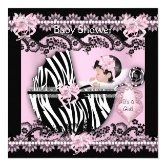 Baby Shower Cute Baby Girl Pink Zebra Lace NEW 5.25x5.25 Square Paper Invitation Card