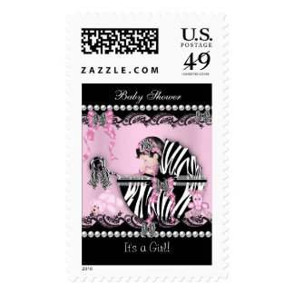 Baby Shower Cute Baby Girl Pink Zebra Lace Postage
