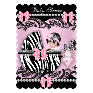 Baby Shower Cute Baby Girl Pink Zebra Lace SCALL 5x7 Paper Invitation Card
