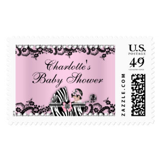 Baby Shower Cute Baby Girl Pink Zebra Lace Stamp