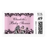 Baby Shower Cute Baby Girl Pink Zebra Lace Stamp Postage Stamp