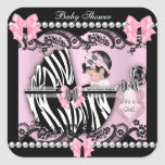 Baby Shower Cute Baby Girl Pink Zebra Lace Square Stickers