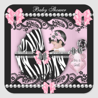 Baby Shower Cute Baby Girl Pink Zebra Lace Square Sticker