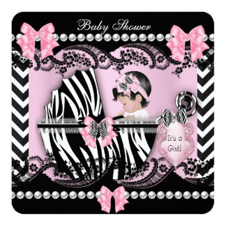 Baby Shower Cute Baby Girl Pink Zebra Lace Stripe Card