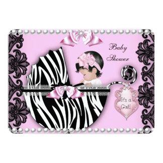Baby Shower Cute Baby Girl Pink Zebra Pram 2 5x7 Paper Invitation Card