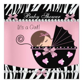 Baby Shower Cute Baby Girl Pink Zebra Print Invitation