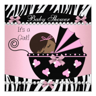 "Baby Shower Cute Baby Girl Pink Zebra Print 5.25"" Square Invitation Card"