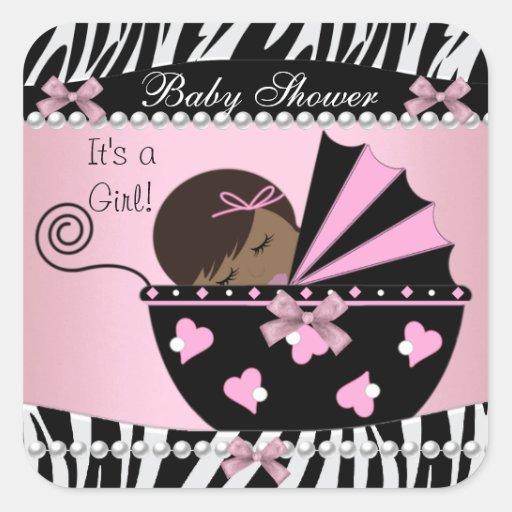 baby shower cute baby girl pink zebra print square sticker zazzle