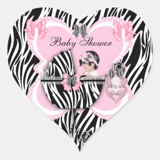 Baby Shower Cute Baby Girl Pink Zebra Spots Heart Sticker