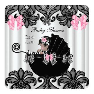 Baby Shower Cute Baby Girl Pink Zebra White Black Card