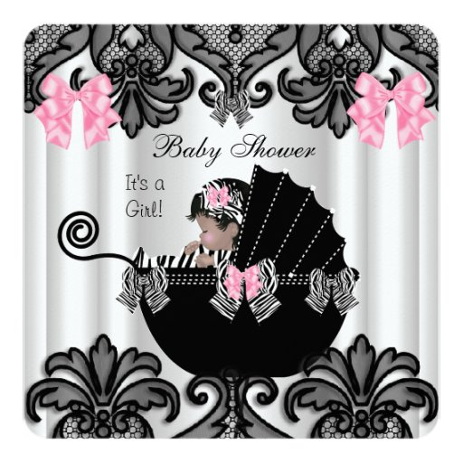 Baby shower cute baby girl pink zebra white black for Pink and zebra bathroom ideas
