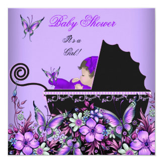 Baby Shower Cute Baby Girl Purple Butterfly 2 5.25x5.25 Square Paper Invitation Card