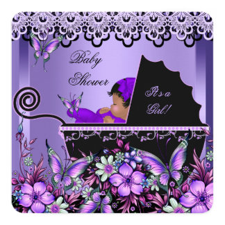 Baby Shower Cute Baby Girl Purple Butterfly 3a Card