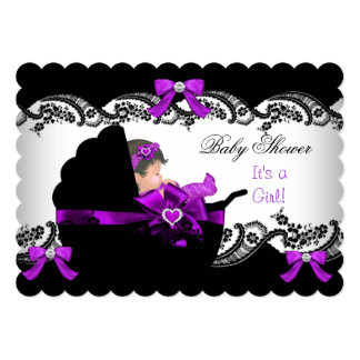 """Baby Shower Cute Baby Girl Purple Pink Lace S 5"""" X 7"""" Invitation Card"""