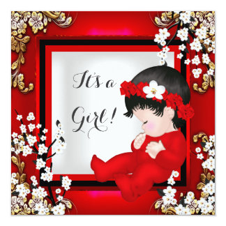 Baby Shower Cute Baby Girl Red Blossom Black AM4 Card