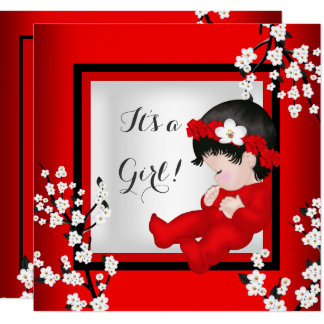 Baby Shower Cute Baby Girl Red Blossom Black C4 Card