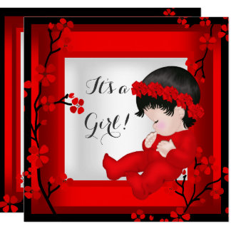 Baby Shower Cute Baby Girl Red Blossom Black White Card