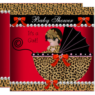 Baby Shower Cute Baby Girl Red Leopard Bow Card