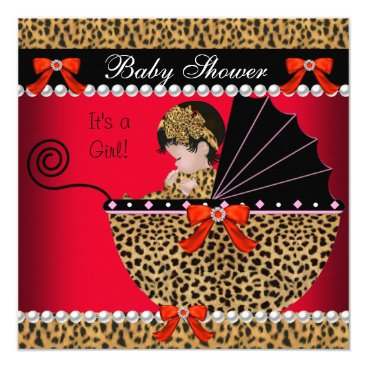 Toddler & Baby themed Baby Shower Cute Baby Girl Red Leopard Bow Card