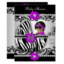 Baby Shower Cute Baby Girl Zebra Purple Pink Black Invitation