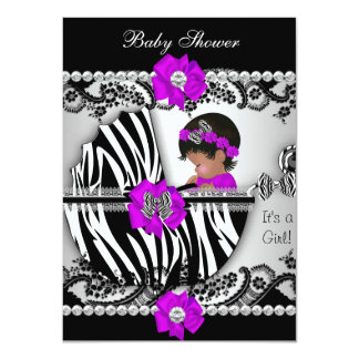 "Baby Shower Cute Baby Girl Zebra Purple Pink Black 4.5"" X 6.25"" Invitation Card"
