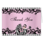 Baby Shower Cute Baby Girl Zebra Thank You Card