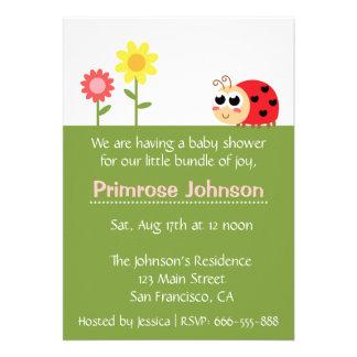 Baby Shower: Cute Baby Ladybug in a garden Card