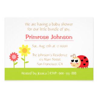 Baby Shower: Cute Baby Ladybug in a garden Custom Announcements