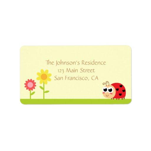 Baby Shower: Cute Baby Ladybug in a garden Address Label