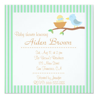 Baby Shower: Cute blue bird with just hatched baby Card