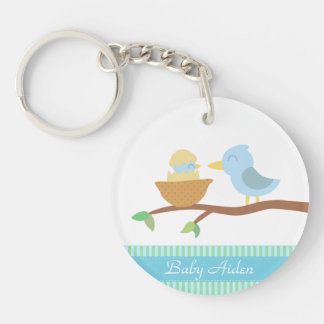 Baby Shower: Cute blue bird with just hatched baby Keychain