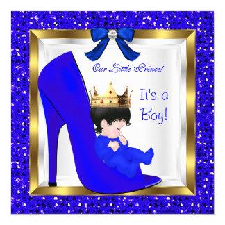 Baby Shower Cute Boy Prince Royal Blue Crown Card