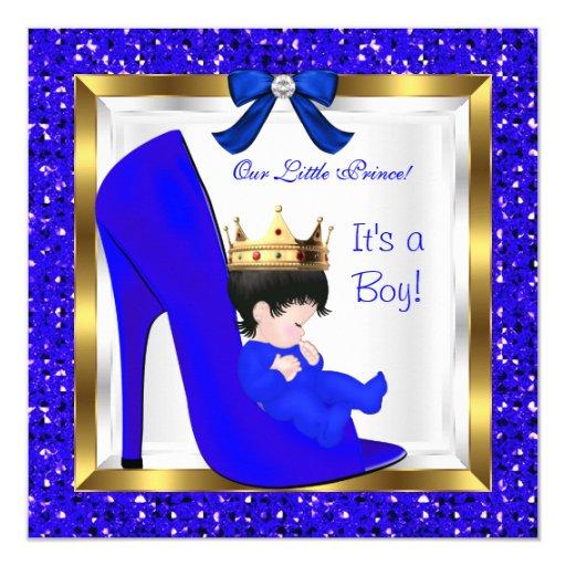 Baby Shower Cute Boy Prince Royal Blue Crown Invitation