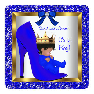 Baby Shower Cute Boy Prince Royal Blue Shoe 2 Card