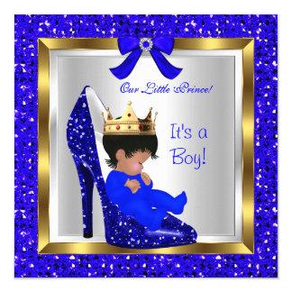 Baby Shower Cute Boy Prince Royal Blue Shoe 3 Card