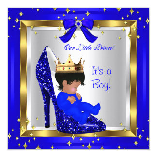 Baby Shower Cute Boy Prince Royal Blue Shoe 4 Card