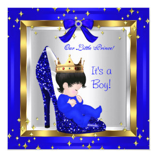 Baby Shower Cute Boy Prince Royal Blue Shoe 6 Invitation