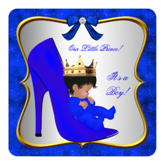 Baby Shower Cute Boy Prince Royal Blue Shoe Card
