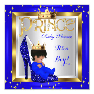 Baby Shower Cute Boy Prince Royal Blue Shoe D2 Card