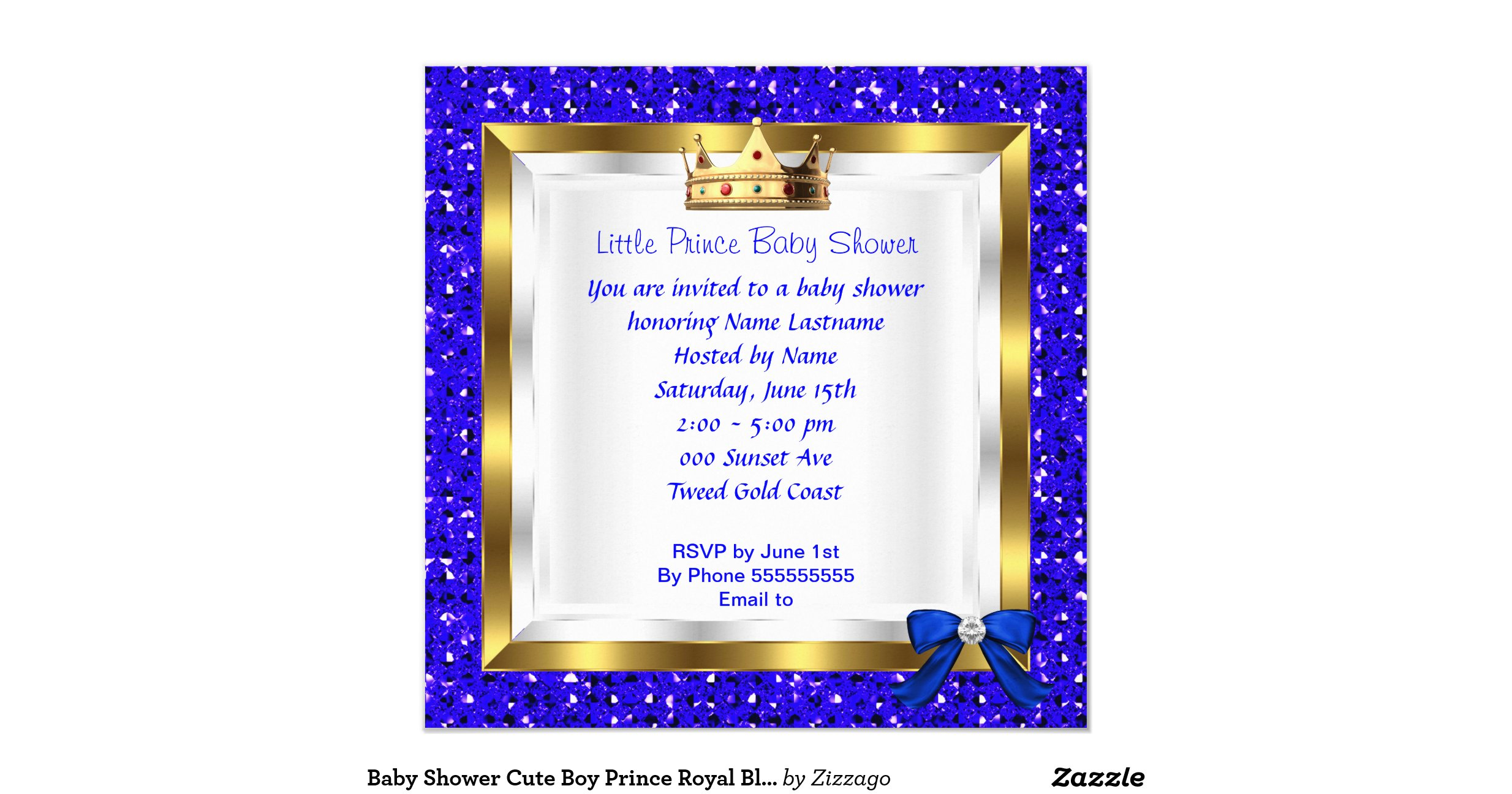baby shower cute boy prince royal blue shoe square paper