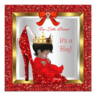 Baby Shower Cute Boy Prince Royal Red Shoe 2 Card