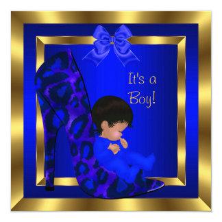 Baby Shower Cute Boy Royal Blue Shoe Leopard Card
