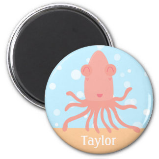 Baby Shower: Cute Cartoon Pink Squid with Bubbles 2 Inch Round Magnet