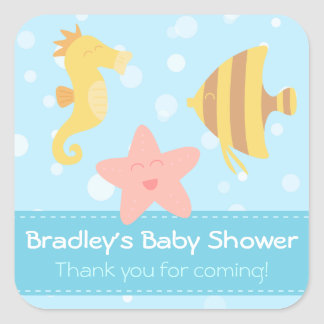 Baby Shower: Cute cartoon underwater creatures Square Sticker