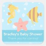 Baby Shower: Cute cartoon underwater creatures Square Sticker