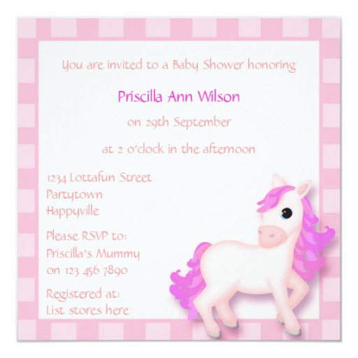 Baby Shower Cute & Colorful Pink Pony Cartoon 5.25x5.25 Square Paper Invitation Card
