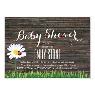 Baby Shower Cute Daisy & Ladybugs Elegant Wood Card