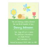 Baby Shower: Cute Dragonfly & Snail in a garden Card